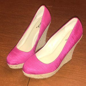 Qupid Hot Pink Wedges Size 7